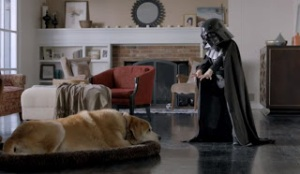Darth shouting at his dog!