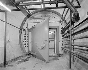 A big door, designed to keep the radioactive fall out at bay!