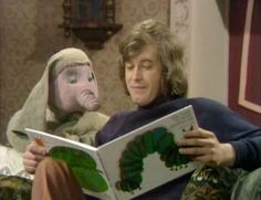 Humphrey and Alan (holding the book) relaxing between filming!