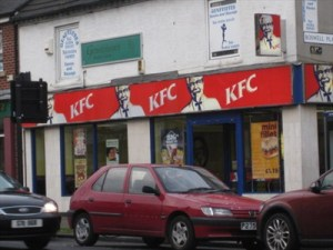 KFC and something spicy upstairs! Rear entry...