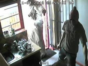 Robbery in action! Even the robbers are scared to come out when its dark!